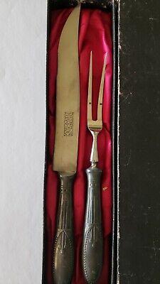 Antique HIBBARD SPENCER BARTLETT & Co. REV-O-NOC Carving Knife & Fork Set