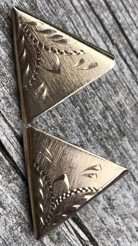 Western Cowboy 10k Gold Plated USA Shirt Collar Engraved Tips Mafia Gangster