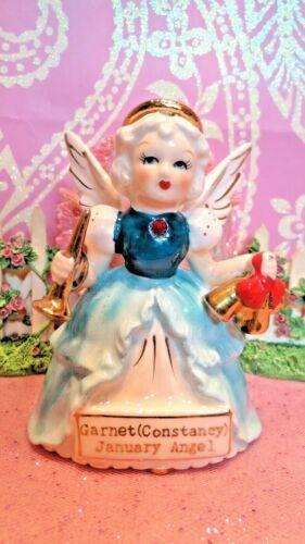 Vtg Christmas January Garnet Birthstone Angel W Gold Jingle Bells Gold Horn