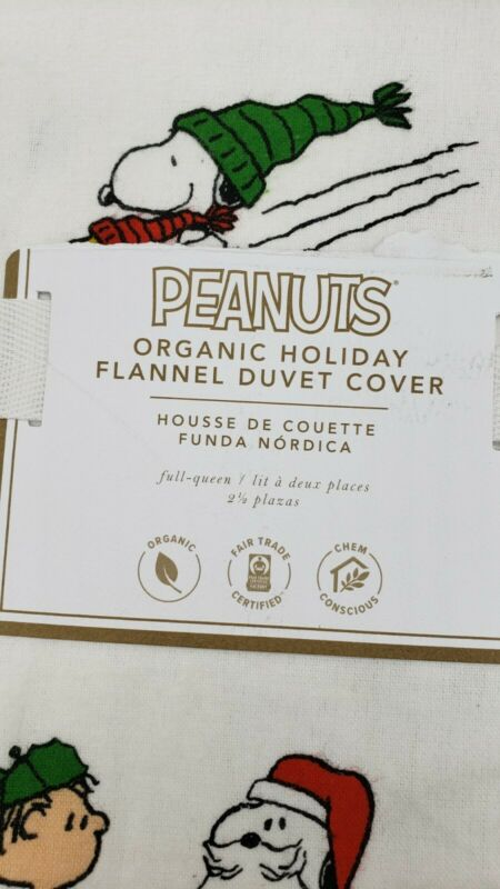 NEW Pottery Barn Teen Flannel Peanuts Full/Queen Duvet Cover, Christmas, Snoopy