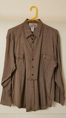 MEDIUM Vintage IZIT U? Brown Long Sleeve Dress Shirt Strange Odd Unusual Weird