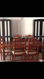 Solid Timber Dining Table and 8 Chairs