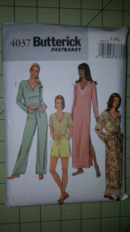 Butterick Pattern Easy 4037 Robe Nightgown Top Pants Sizes L16-18 XL 20-22 UNCUT