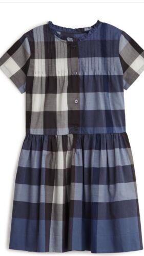 BURBERRY CHILDREN GIRLS DRESS BLUE CHECKERED SIZE 8 YEARS NEW