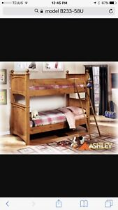 Like new- Twin over Double Bunk Bed