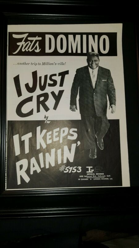 Fats Domino I Just Cry Rare Original Promo Poster Ad Framed!