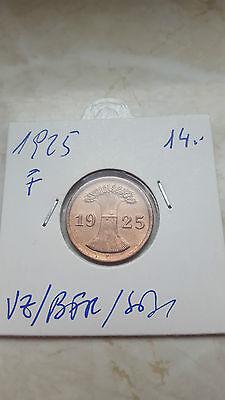 2 Reichspfennig 1925 F /stgl  . ab 5 auktionen portofrei