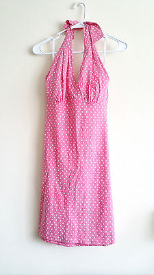 Petite Length - TALBOTS PETITES SZ Petite PINK WHITE POLKA DOT Halter Dress Knee Length CUTE