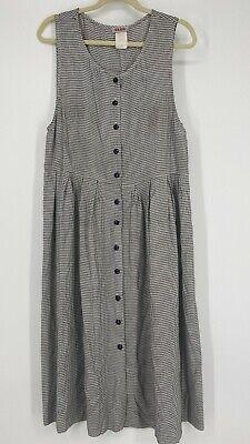 80s Dresses   Casual to Party Dresses Vintage Fad Jumper Dress Women's Size 12P Black Check Floral 1980s Button Back $29.99 AT vintagedancer.com