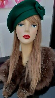 LADIES VINTAGE 1930s 40s style Green Bow Felt Hat / Beret Retro Homefront