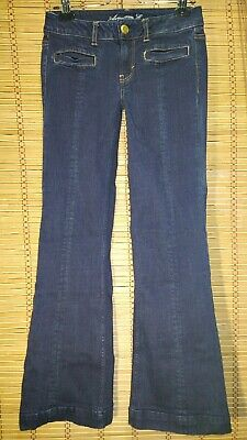 AMERICAN EAGLE OUTFITTERS HIPSTER STRETCH SIZE 2 REGULAR. DARK WASH DENIM