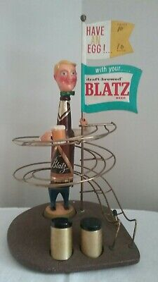Vintage Blatz Egg Beer Bottle Man Advertising Figure Bar Top Display Collectible