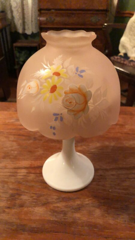 Vintage Westmoreland Frosted Pink with Roses and Daisy Tea Lite Milkglass Lamp