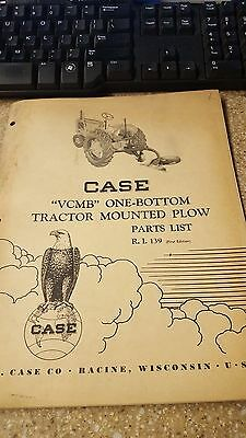 Case Vcmb One Bottom Tractor Mounted Plow Parts List No. R.i 139