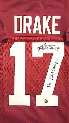 KENYAN DRAKE AUTOGRAPH SIGNED CRIMSON ALABAMA JERSEY INSCRIBED INCLUDES COA