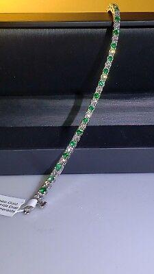 18K BLUE NILE Diamond and Emerald Tennis Bracelet