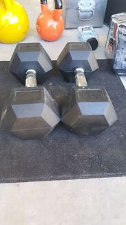 12.5kg Rubber Hex Dumbbells  Coomera Gold Coast North Preview