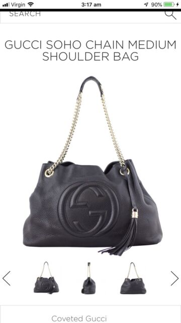 aeab0dab23a Gucci SOHO medium tote in classic black with gold chain !