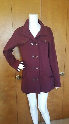 Cotton Jersey Jacket - PrAna Maroon Jersey Coat Jacket 100% Cotton M