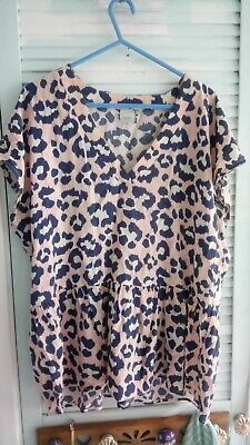 Ladies Top Size L Blue And Pink By Ichi