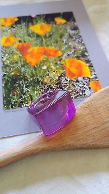 Vintage Ring Pop Art 60's Lucite Plastic transparent MAGENTA Violet PINK sz 7.5