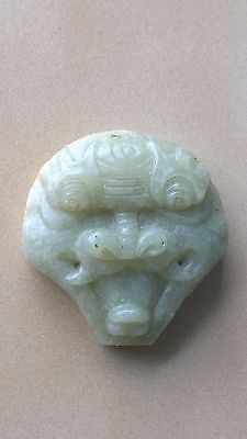 """Nephrite Jade Dragon-Head Amulet/Pendant One Side Carved 1 7/8""""."""