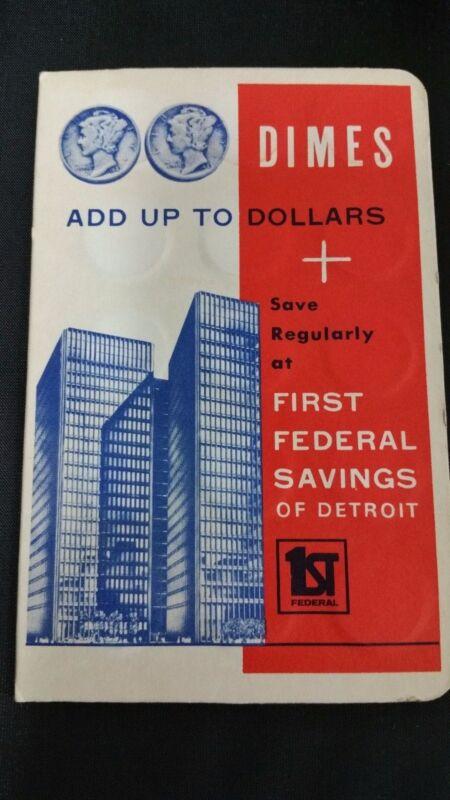 Vintage First Federal Savings Dime Folder W/ 30  90% Silver Dimes over 2oz Troy!