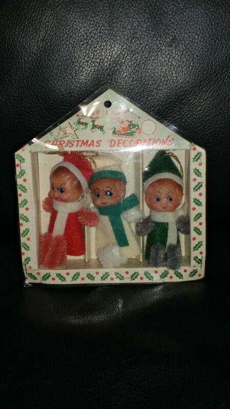 Vintage Brite Star Elves Christmas Decorations Ornament Elf Set NIB