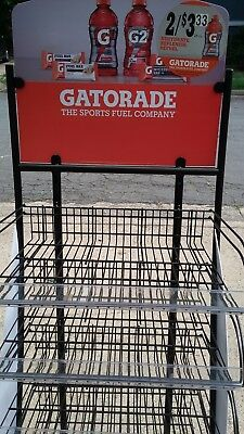 New. Gatorade Display 5 Adjustable Shelves. With Roller Wheels.