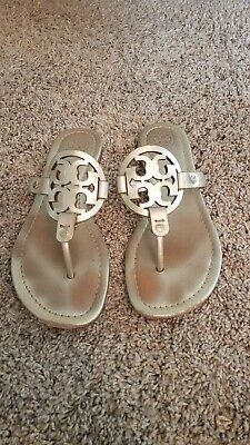 Tory Burch Spark Gold Leather Miller Sandals 7.5