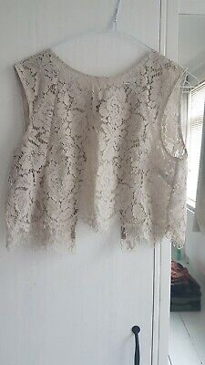 Jenny Yoo grey lace bridesmaid cropped top
