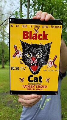 VINTAGE OLD BLACK CAT FIREWORKS FLASHLIGHT CRACKERS HEAVY ENAMEL METAL SIGN