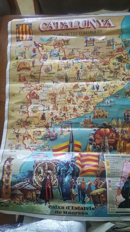 Vintage Poster Barcelona catalunya mapa de les comarques 1977? Signed by Artist