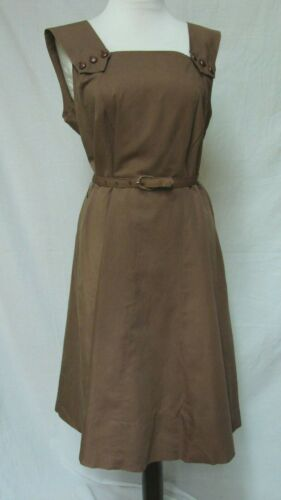 1950s 60s VINTAGE PLUS SIZE COTTON COCOA BROWN SUNDRESS DRESS