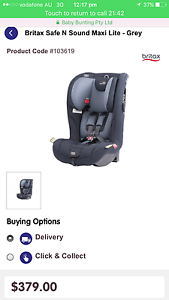 Britax safe n sound maxi lite car seat Caves Beach Lake Macquarie Area Preview