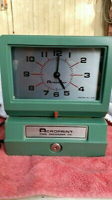 Acroprint Model 150ar3 Heavy Duty Automatic Time Recorder W New Ribbon And Key
