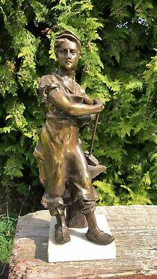 Antique Vintage Cast Metal Blacksmith Statue Sculpture Figure With Hammer *
