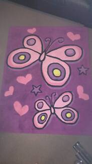 Pink butterfly rug / mat for girls bedroom. Ashmore Gold Coast City Preview