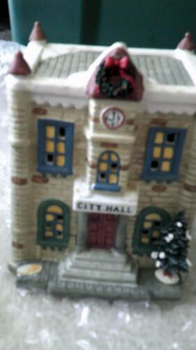 Lemax /Dept 56-Like, CITY HALL~PORCELAIN Building & D56 TOWN CRIER~no light cord