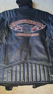 Harley Davidson Skull 3-1 Willie G Black Leather Jacket Small