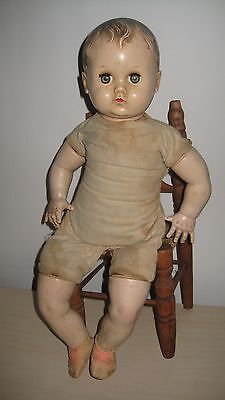 """Vintage/Antique 30's AMERICAN CHARACTER 17"""" Hard Plastic Cloth Body Baby Doll!"""