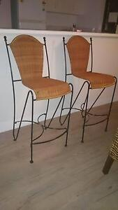 2x cane and wrought iron bar stools Armidale City Preview
