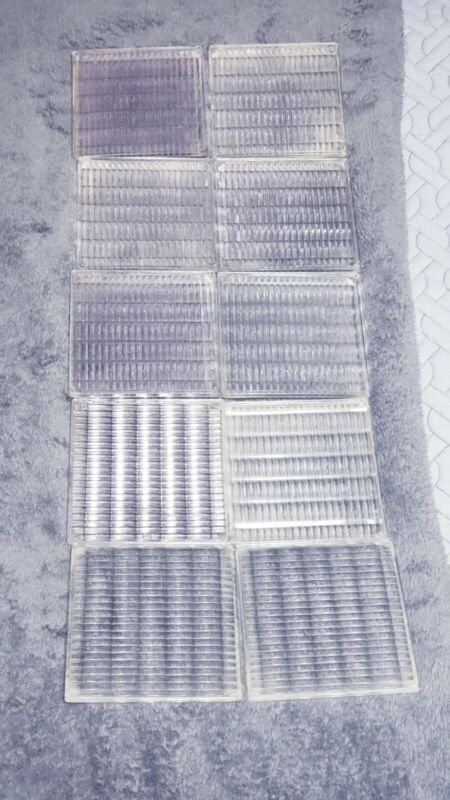 10 VINTAGE CLEAR LUXFER FRANK LLOYD WRIGHT GLASS SAWTOOTH ARCHITECTURAL TILES
