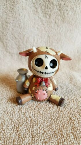 FURRYBONES Brown Moo Moo the Cow Figurine Skull in Costume New Free Shipping