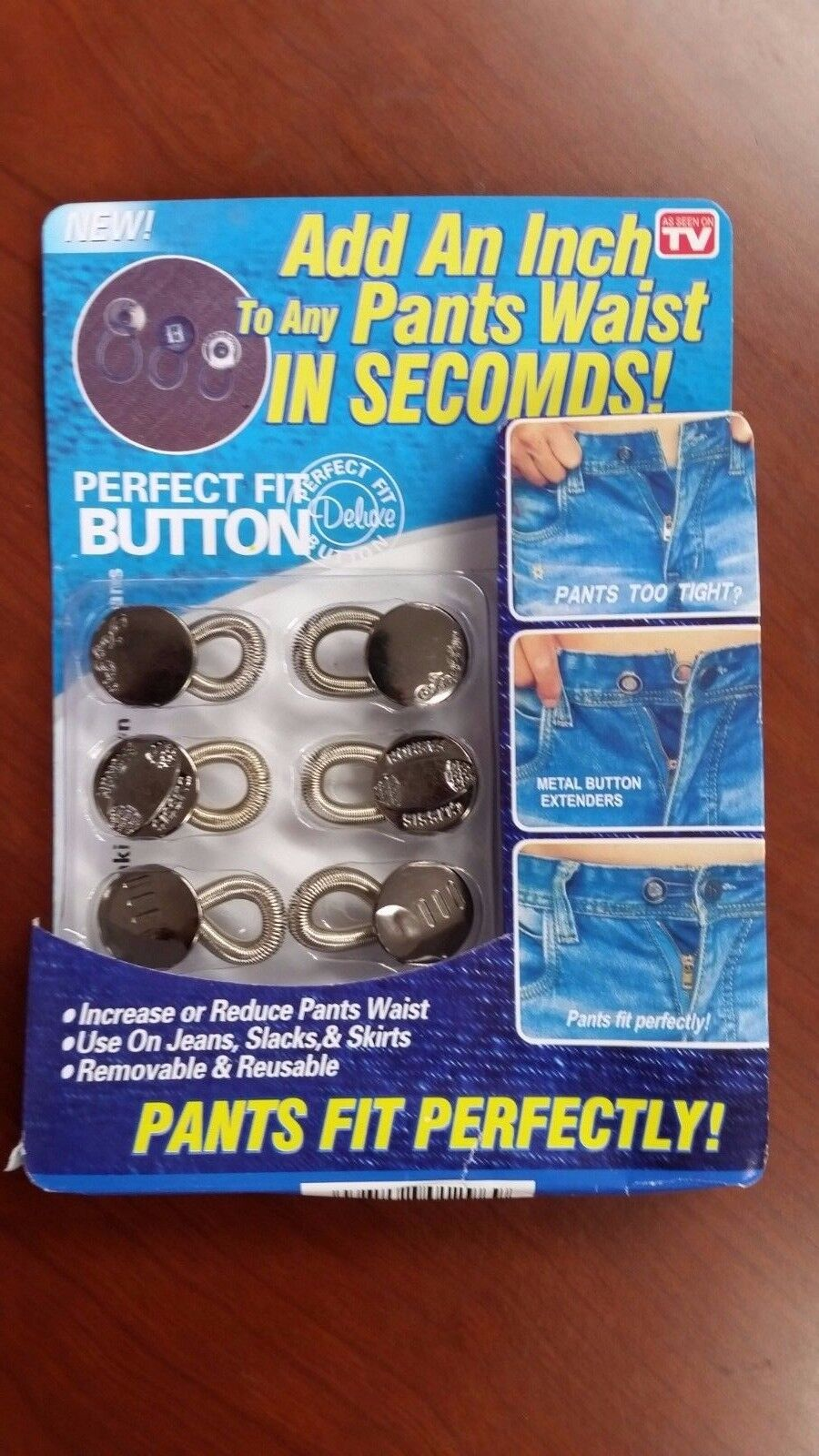 Perfect Fit Pants Buttons Waist Extenders Jeans Jackets 6 pcs.NEW