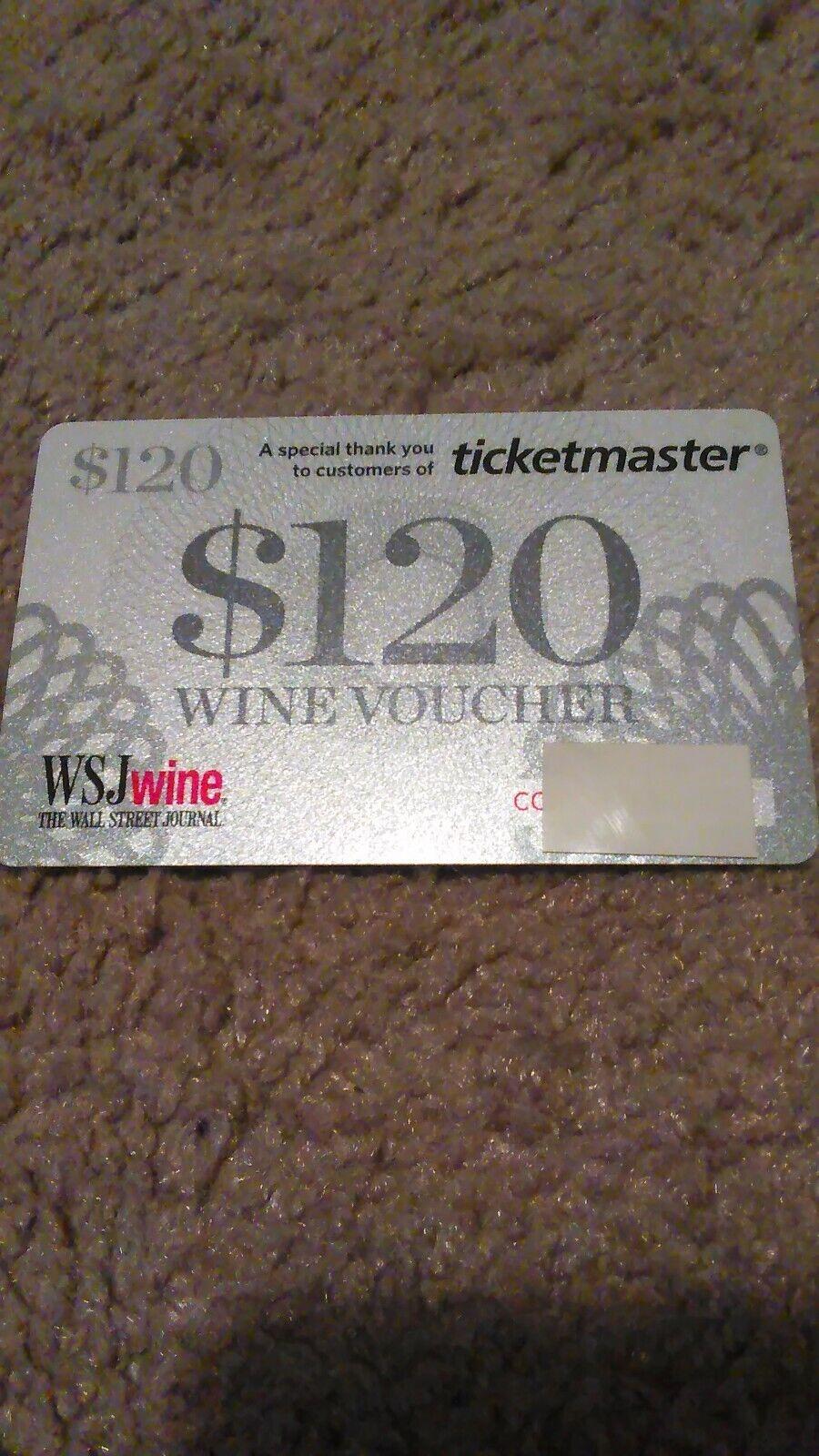Wsj Wine Gift Card 120 Wine Voucher - $1.50
