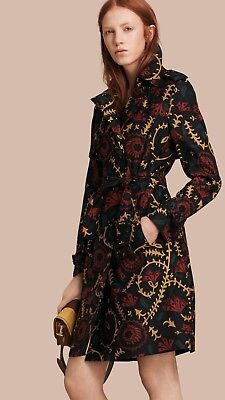 NWT Burberry Floral Print Silk Wool Trench CoatSize 6