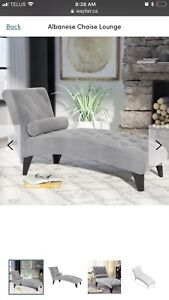 Grey chaise lounger (new)