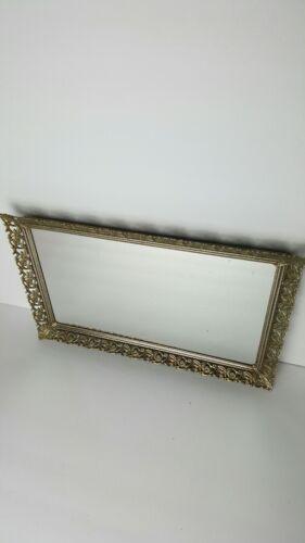 VTG Elegant Gold Silver? metal Rose Filigree Wall or vanity dresser Mirror Tray