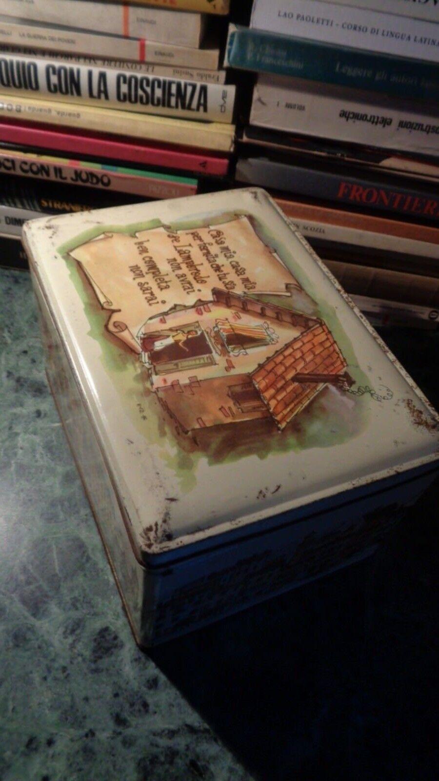 SCATOLA BOX IN LATTA DELLA LAMP BRODO VERONA VINTAGE ANNI 50/60/70